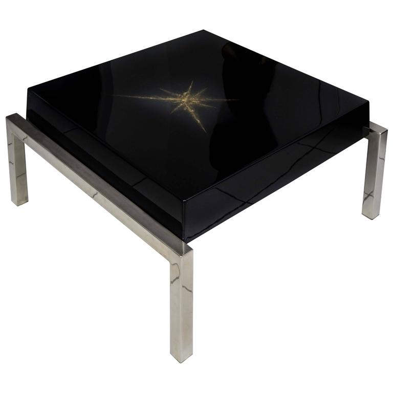 Beautiful Low Coffee Table Black Lacquered Maison Guerin Paris Circa 1970 For Sale At 1stdibs