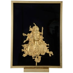 Rare Sconce with a Buddha Bronze Figure, Maison Guerin, Paris, circa 1970