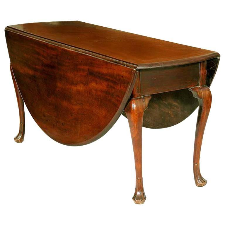 Large Mahogany Queen Anne Oval Drop Leaf Table, Trifid Feet