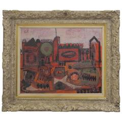 Abstract Cityscape Painting by Robert Gilbert, American Mid 20th Century