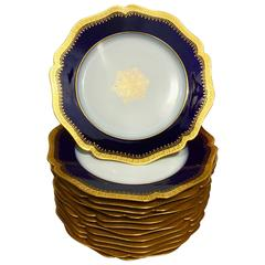 12 Porcelain Luncheon Plates Cobalt Blue and Gold Encrusted by Limoges