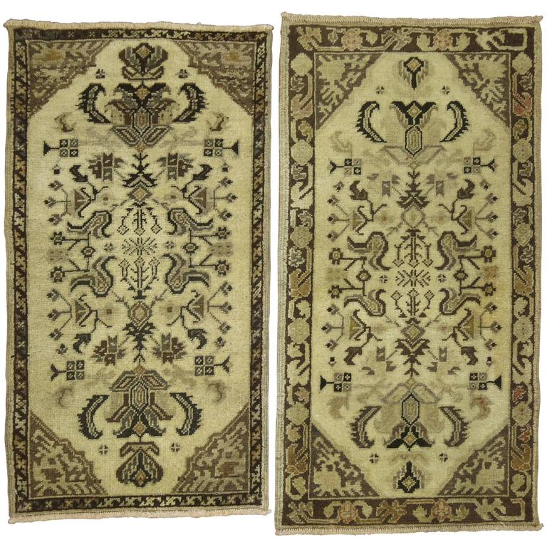 Pair of Turkish Oushak Anatolian Rug Mats For Sale