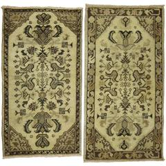 Pair of Turkish Oushak Anatolian Rug Mats