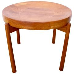 Jens Quistgaard Attributed Solid Teak Flip-Top Tray Table