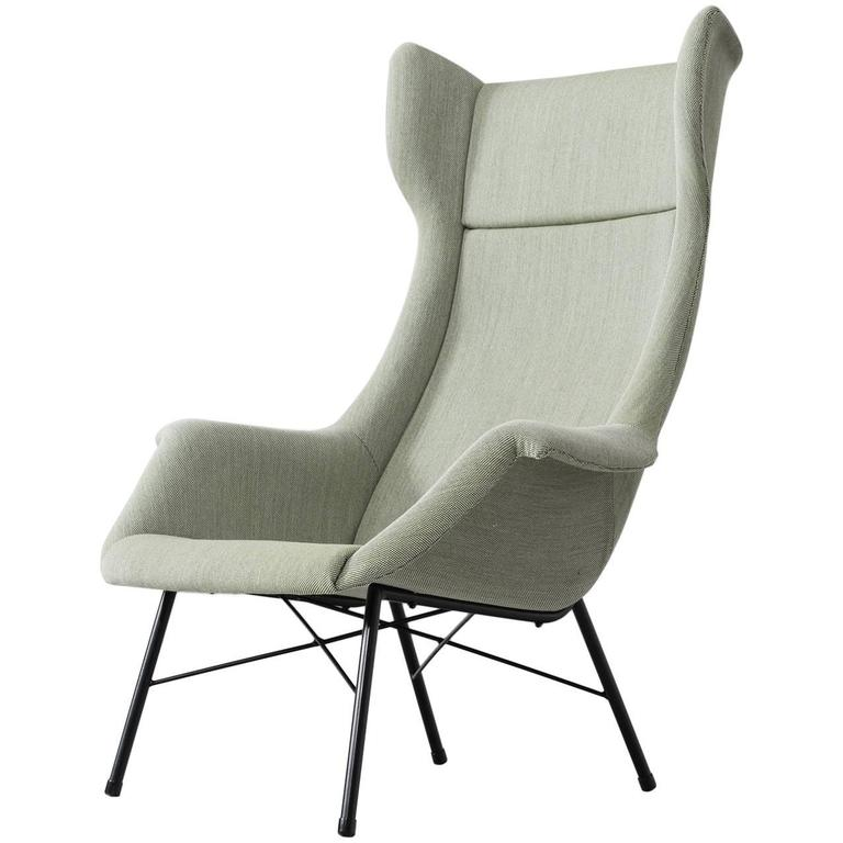 Mid-Century Reupholstered High Back Lounge Chair For Sale