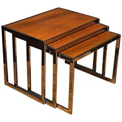 Nest of Three Wood and Chrome Tables by Howard Miller