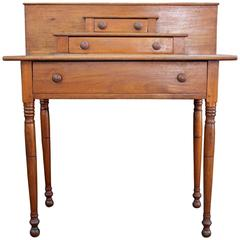 New England Walnut Side Table with Strong Square Backsplash, circa 1830