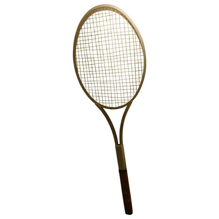 One of Kind Striking Rare Giant Big Tennis Racket in Aluminum and Leather For Sale