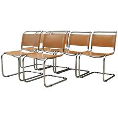 Six Mart Stam Cantilever Dining Chairs, Saddle Leather with Tubular Steel