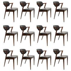 Kai Kristiansen Rosewood and Leather Chairs