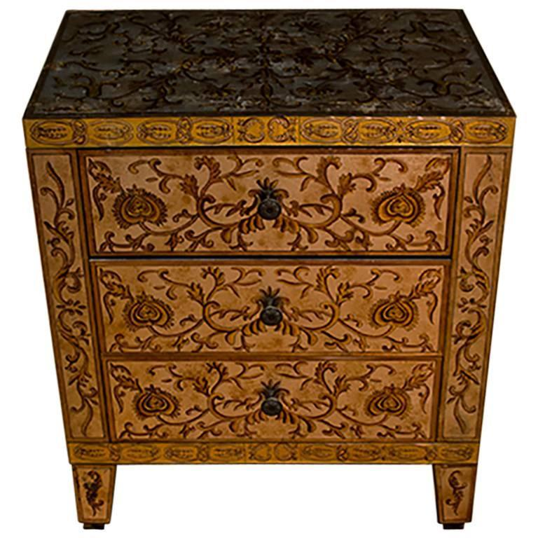 French Baques Eglomise Commode 1