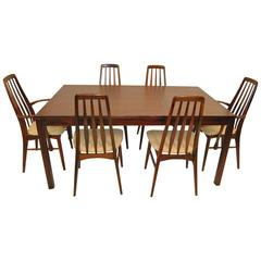 Mid-Century Rosewood Vejle Stole Table and Six Eva Chairs by Koefoeds Hornslet