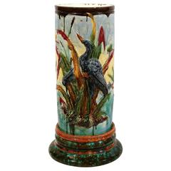 Tall 19th Century French Barbotine Umbrella Stand with Birds