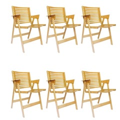 1970, Niko Kralj, Set of Eight Folding Chairs, Produced by Rex