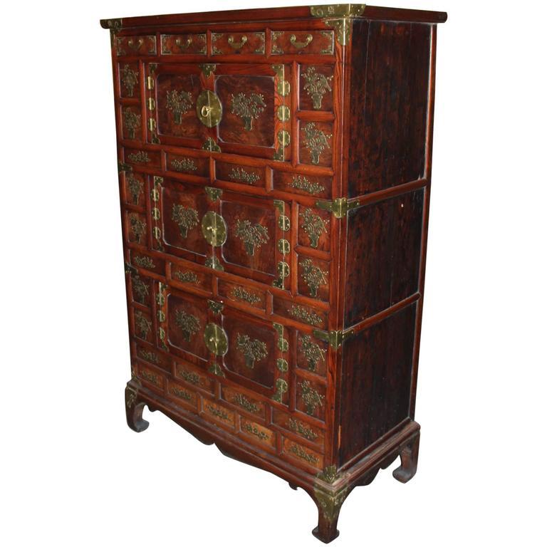 Late 19th Century Korean Tansu Elmwood Cabinet with Brass Mounts ...