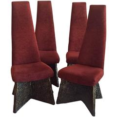 Vintage Adrian Pearsall Brutalist Dining Chairs Set of Four, Mid-Century Modern