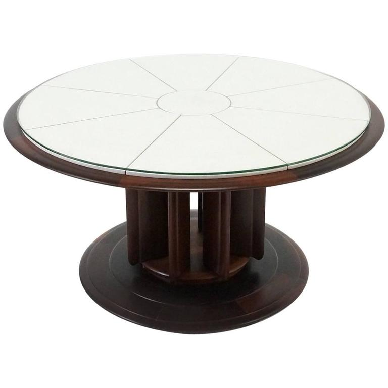 Round Italian Rosewood Center or Coffee Table, 1950s