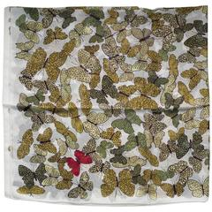 Butterflies Silk Scarf Crepe, White Yellow and Green, Made in Italy