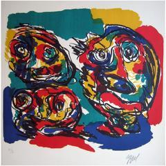 Karel Appel Abstract Color Lithograph, CoBrA School