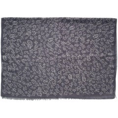 Silk and Wool Unisex Scarf, Gray with Geometric Drawings, Made in Italy