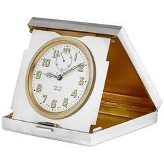 Silver Folding 8 Day Travel Clock Made by Garrard & Co, London, 1975