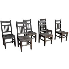 Set of Six Rustic Wooden Dining Chairs