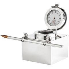 Silver Clock Inkwell with Pen by Goldsmith & Silversmith Co, London, 1905