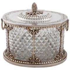 Antique Oval Crystal and Silver Box by Pairpoint