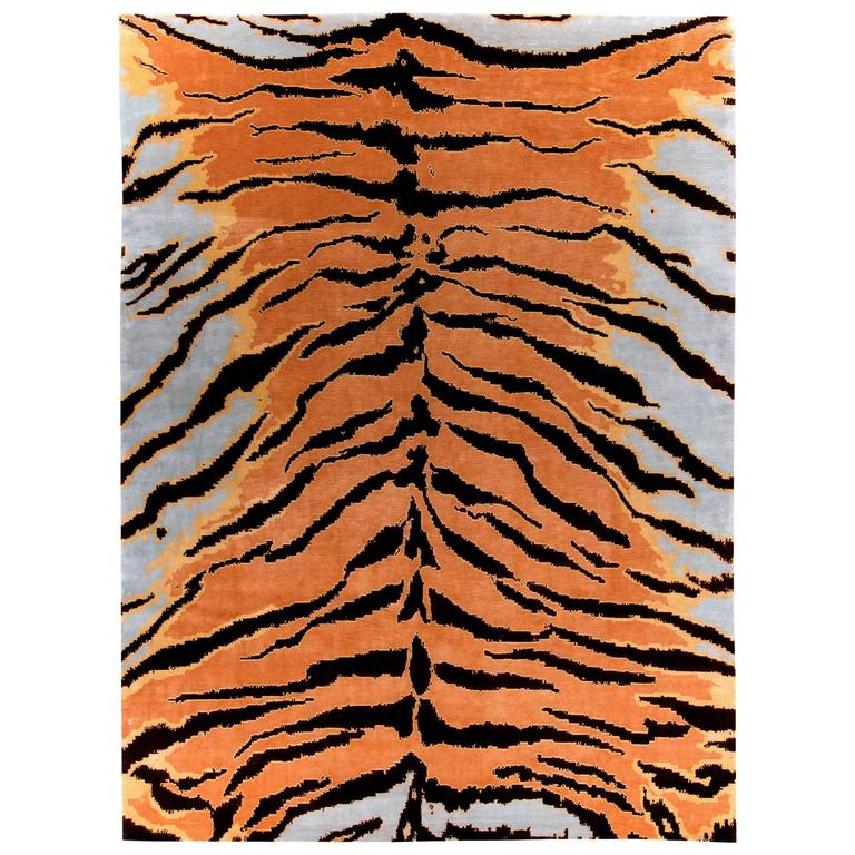 Contemporary 'Tiger' Silk Area Rug For Sale At 1stdibs