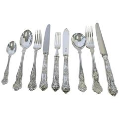 Bright Vine Pattern, English, Sterling Silver Flatware Set Fitted in Box