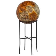 Beyond Wood Sphere Sculpture on Cast Iron Stand