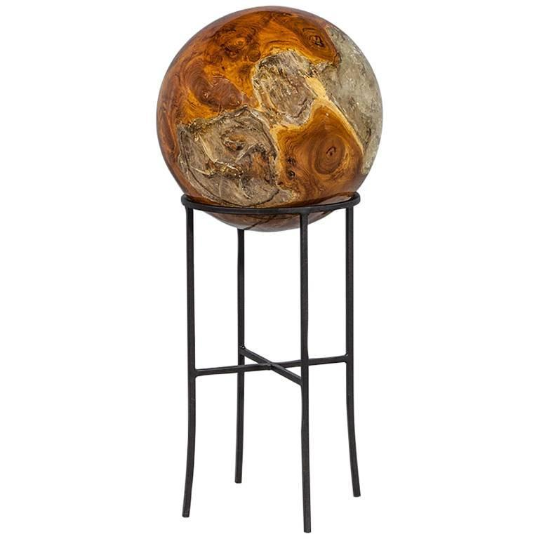 Cast Wood Art : Beyond wood sphere sculpture on cast iron stand for sale