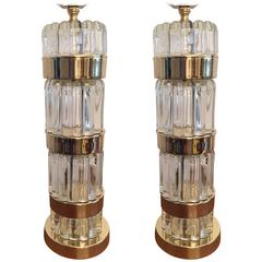 Pair of American Art Deco Glass Table Lamps
