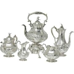 Exceptional Quality Antique English Sterling Silver Tea and Coffee Set Victorian