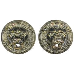 Pair of Victorian Cast Iron Lion Form Well Heads