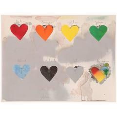Jim Dine '8 Hearts' Pencil Signed Lithograph