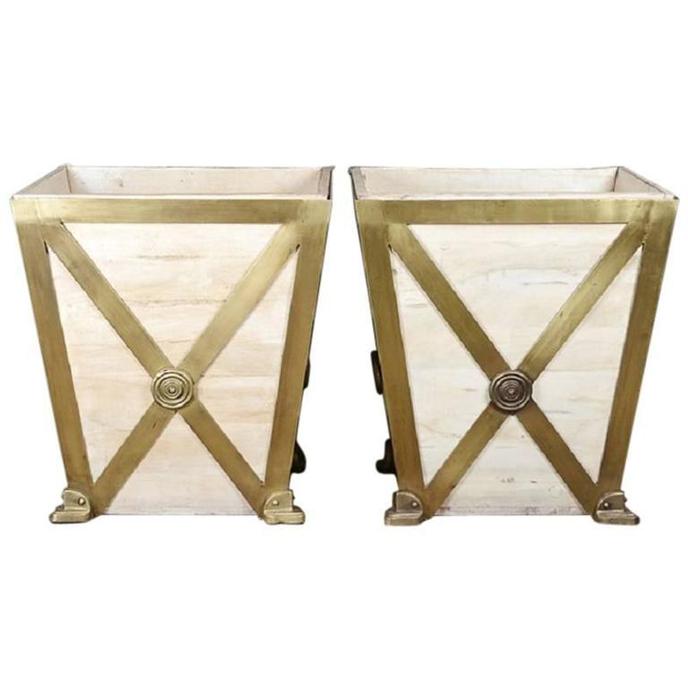 Large Modern Brass and Wood Planters