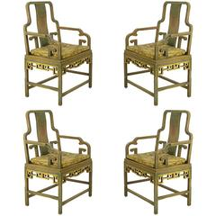 Four Gump's 1940s, Hand-Painted Chinoiserie Armchairs
