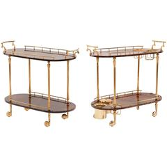 Pair of Aldo Tura Lacquered Goatskin Barcarts