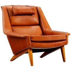 Danish Reupholstered Lounge Chair in Cognac Leather