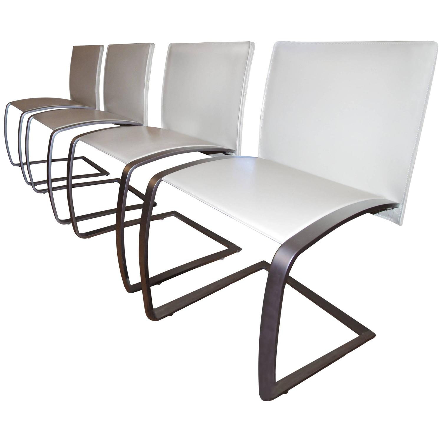 Italian modern dining chairs set of 4 leather and for Leather and steel dining chairs