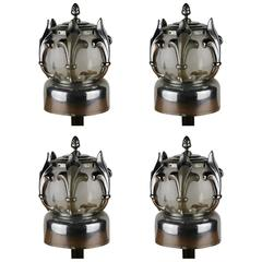 Four Art Deco Lamps from Hearse / Funeral Car