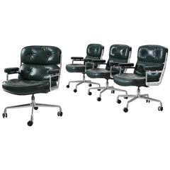 Charles & Ray Eames Set of Four Green Leather 'Time Life' Office Chairs