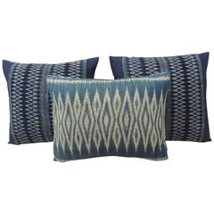 Vintage Blue Batik Asian Decorative Pillows