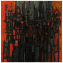 Constantine Pougialis, Large and Vibrant Abstract Oil Painting