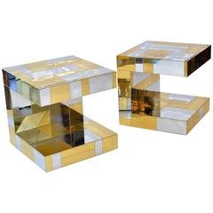Pair of Cityscape Nightstands or Side Tables by Paul Evans
