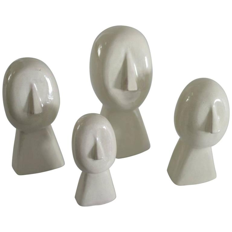 """White Human Sculptures of Talavera """"The Family"""" by Gerardo Chapital For Sale"""