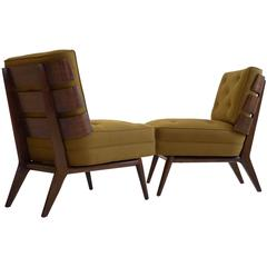 Rare Pair of Robsjohn-Gibbings Slat-Back Lounge Chairs