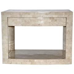 Two-Tier Table in Tessellated Stone by Karl Springer