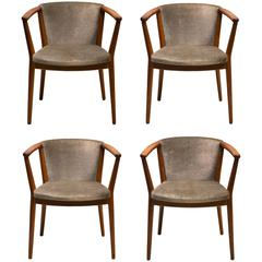 Nanna and Jørgen Ditzel Set of Four Chairs, Oak and Silvery Green Mohair Velvet